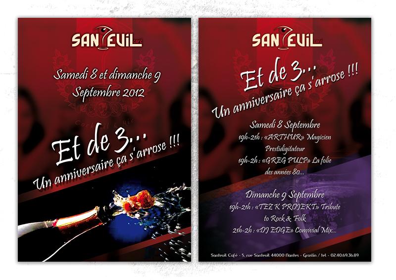 Flyer les 3 ans du Santeuil café Nantes