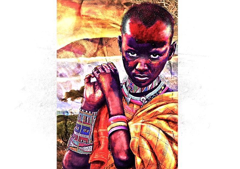 portrait enfant africain en peinture numérique